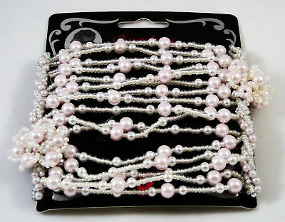 Double Stretch Beaded Hair Comb Hint Of Pink In Package Metal Combs