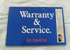 WARRANTY & SERVICE BOOK - TOYOTA COROLLA HATCH 1993