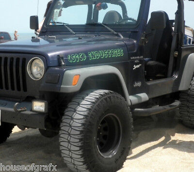 Custom hood decal decals for jeep cj renegade wrangler ebay for Custom jeep lettering