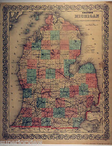 1872 Map Michigan Lower Peninsula Lake Michigan Huron GREAT