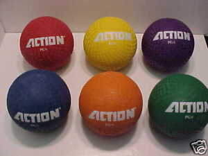 6 pack STINGER Dodgeball Handball 6 inch ROUGH TOUGH RUBBER BALL ASSORTED