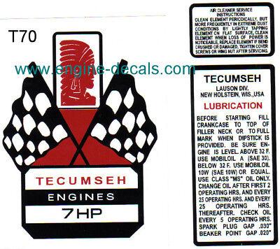 Tecumseh 7-hp decal H70 V70 Mini Bike Go Kart Flags T70
