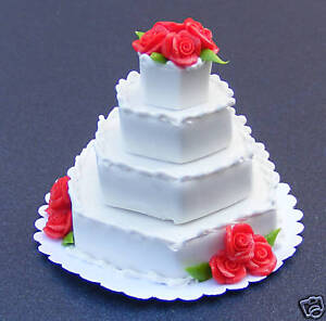 1-12-Wedding-Cake-With-Red-Roses-Dolls-House-Miniature-Bakery-Accessory-B