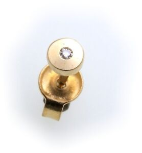 Men's Earrings Studs real Gold 585 Brilliant 0, 01ct