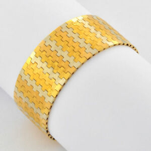 1980s-Weighty-18k-Vintage-Tricolor-Yellow-Rose-White-Solid-Gold-Bracelet-7-034-Long
