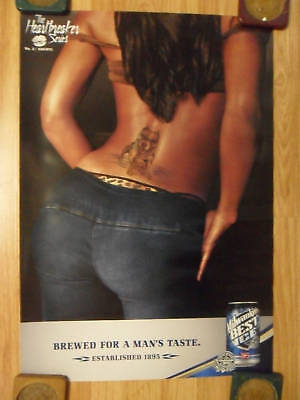 Sexy Girl Beer Poster Old Milwaukee Tramp Stamp Pitbull