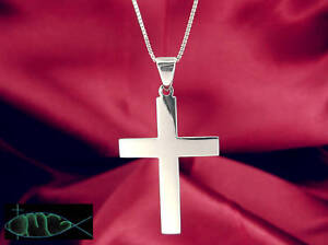 Large-Sterling-Silver-925-Polished-Plain-Cross-Pendant