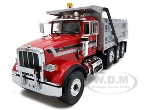 PETERBILT-MODEL-367-DUMP-TRUCK-RED-SILV-1-34-FIRST-GEAR