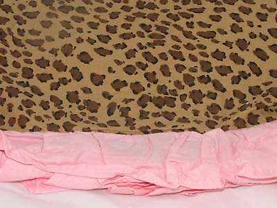 Leopard Animal Girls Pink Spotted Twin Bed Skirt Ruffled Company Kids Reg$45