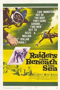 RAIDERS FROM BENEATH SEA 1965 movie poster SCUBA DIVING original one sheet 27x41