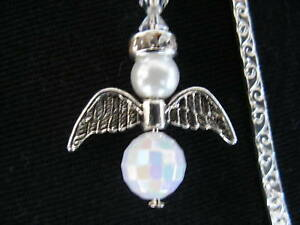 fairy-angel-pearl-crystal-bead-tibetan-silver-handmade-bookmark-gift-XMAS