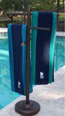 Outdoor portable towel holder rack pool patio spa yard ebay for Outdoor towel caddy
