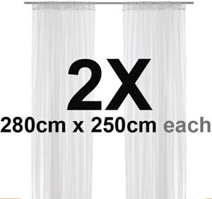 IKEA-LILL-PAIR-of-SHEER-LACE-CURTAIN-Curtains-WHITE-NEW