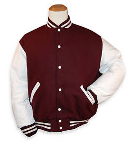 Maroon Wool / White Leather Varsity Letterman Jacket | eBay