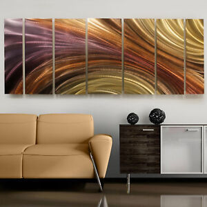 Large-Modern-Earth-Toned-Fine-Metal-Wall-Art-Painting-Titanium-Burn-Jon-Allen