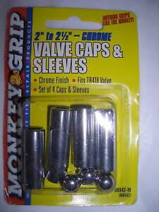 Monkey-Grip-Set-4-Chrome-2-034-2-1-2-034-Valve-Caps-amp-Sleeves