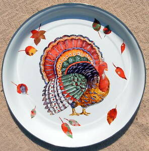 Colorful TURKEY PORCELAIN Enamelware Graniteware Tray BEST THANKSGIVING Day GIFT