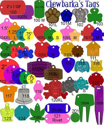 2000 Chewbarka Pet ID tags engravable Anodized Aluminum Wholesale Blank USA