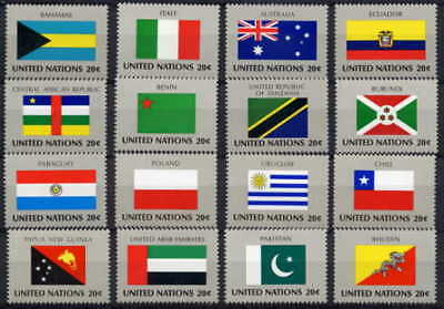 UNITED NATIONS 1984 FLAGS SET OF 16 STAMPS - $8 VALUE!