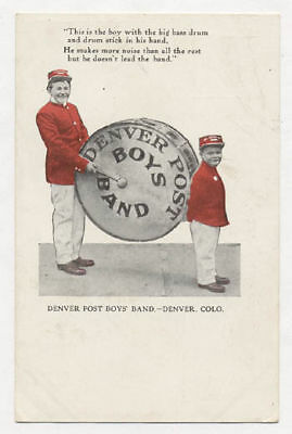 1908 Denver Adv Denver Post Boys Band Postcard Pc4912