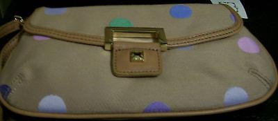 Liz Claiborne Heritage Wristlet Tan Pastel Dots