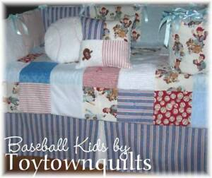 Vintage Baseball kids baby boy crib quilt bedding blue   eBay