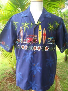 NEW-NAVY-WOODY-CARS-SURFBOARDS-Palm-Tree-Mens-Hawaii-Hawaiian-Aloha-Shirt