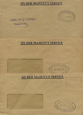 FALKLAND ISLANDS 2000 OHMS OFFICIAL COVERS 3 DIFF.DEPTS