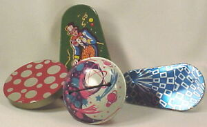 4-Vintage-TIN-NOISEMAKER-TOYS-Clowns-Galaxy-More