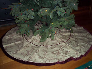 Image Is Loading Frontgate Christmas Holiday Toile Tree Skirt Belgian Linen