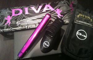 New 230 degrees DIVA Purple Straightner Hair straightener + BONUS POUCH & Stand