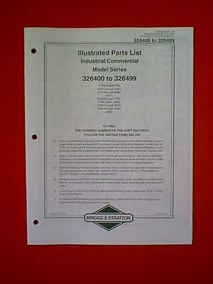 BRIGGS STRATTON ENGINE 326400 326499 PARTS MANUAL