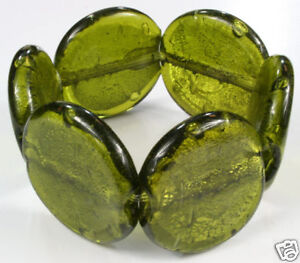 DARK-OLIVE-green-CHUNKY-murano-FOIL-GLASS-BEAD-BRACELET