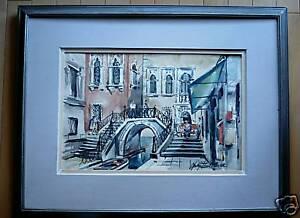 Paris-Venice-Courtyard-Bridge-Canal-Old-Impressionist