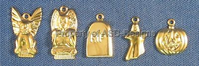 100pc Gold Plated Haunted Halloween Lot Charms 5619
