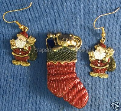 Signed L F Christmas Holiday Earring & Brooch Set 5930