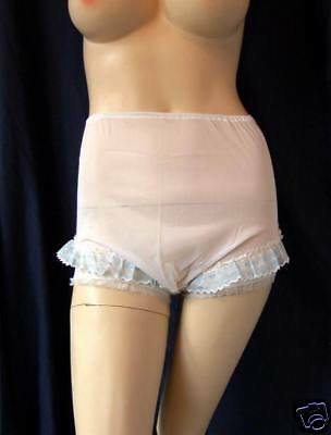 Vintage Panties Knickers 1960's White Nylon Panties With Chiffon Pleat Trim