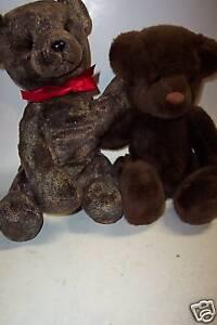 "2 Plush Russ Teddy Bears, Tartufo & Choco, 12"""