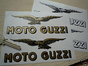 MOTO-GUZZI-7-034-Pair-Text-amp-Soaring-Eagle-Motorcycle-STICKERS-Classic-Bike-Tank