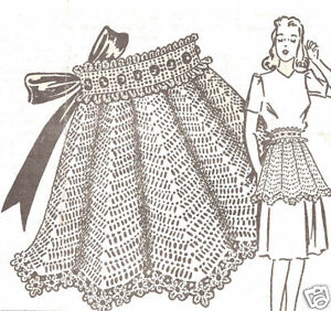 Vintage-Crochet-PATTERN-to-make-Fancy-Hostess-Party-Tea-Apron-Flower-Edging