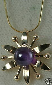 VINTAGE-HAND-WROUGHT-14K-GOLD-AMETHYST-FLOWER-NECKLACE