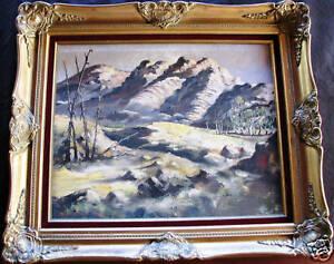 Australian-Artist-Arthur-Hamblin-original-oil-titled-034-Parachilna-Hills-034
