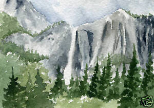 YOSEMITE-FALLS-ACEO-Miniature-Art-Print-on-W-C-Paper-Signed-by-Artist-DJR