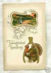 Old-Postcard-Thanksgiving-Turkey-Standing-Under-Wishbon