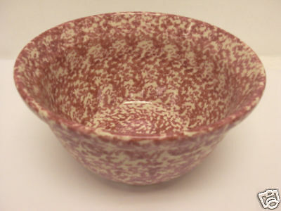 "HENN POTTERY 10"" LARGE MIXING BOWL RED/CRANBERRY SPONGEWARE NEW"