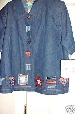 Petite Women's Denim Blues Shirt Blouse Size Ps 6-8 By Koret City Value $46