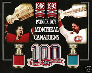 PATRICK-ROY-STANLEY-CUP-PHOTO-100-SEASON-PATCH-MONTREAL-FORUM-RED-BLUE-SEAT