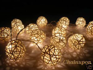 image is loading 20 white rattan ball string party patio fairy - Ball Christmas Lights