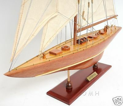 "Enterprise 1930 America's Cup Yacht J Boat Wooden Model 25"" Sailboat New"