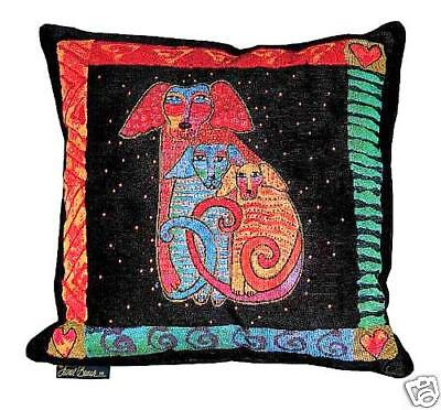 Laurel Burch Embracing Papillion Dogs Decorative Throw Tapestry  Pillow New